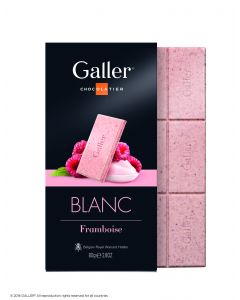 Galler Tablet Wit Framboos 80gr